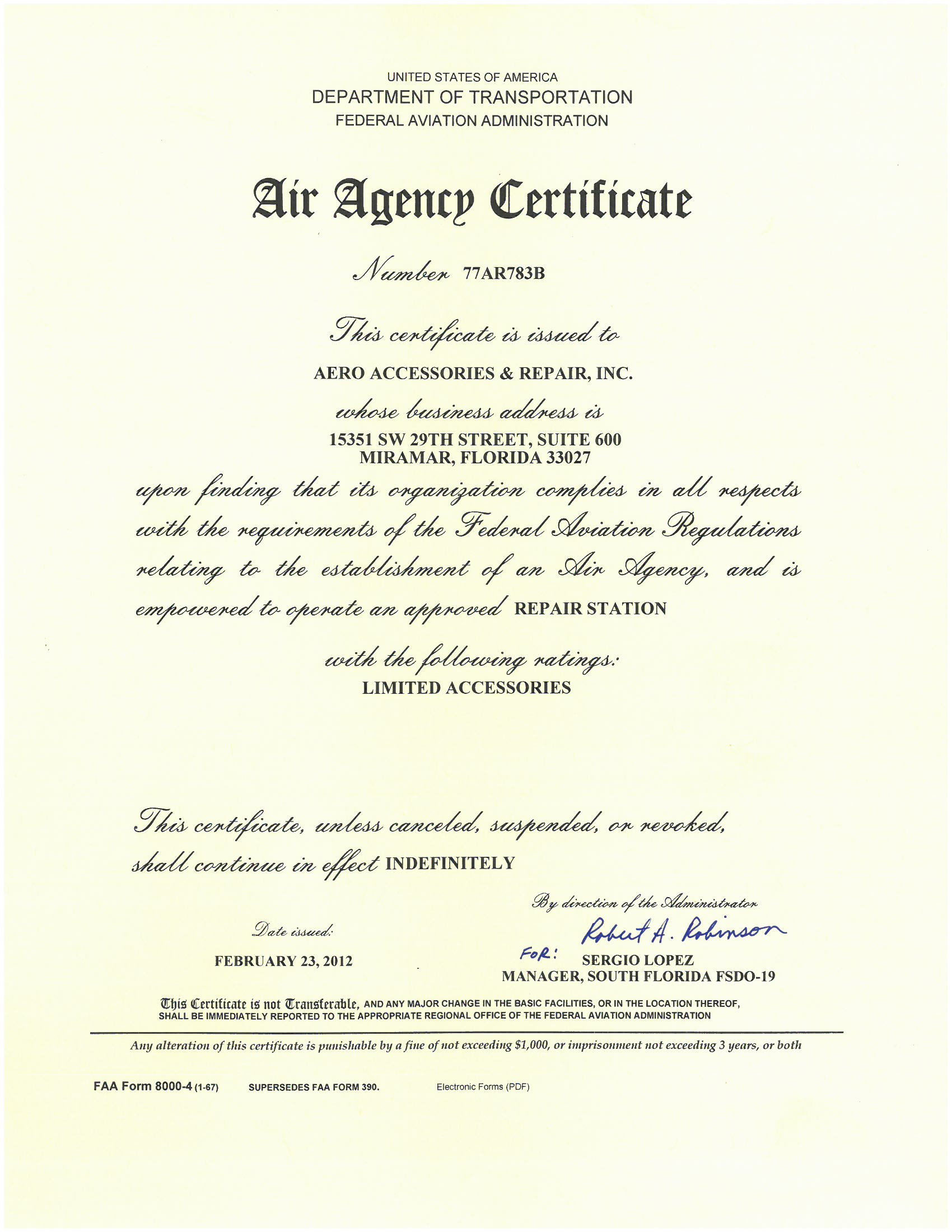 Quality Certifications | Aero Accessories